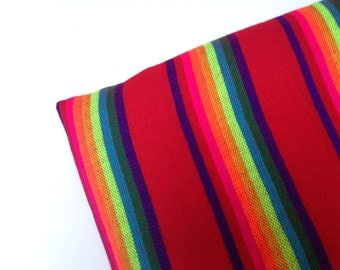 3 Yard Red Mexican Fabric - Striped Cambaya - Material by the Yard - DIY Wedding Decor - Rebozo Fabric