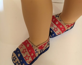 "18 inch doll shoes, Laney Lee Burlap doll shoes, Patriotic doll shoes, made to fit 18"" dolls such as American Girl and similar dolls"