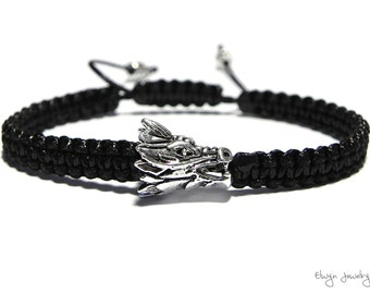 Dragon Bracelet, Game Of Thrones Fan Gift, Black Cord Bracelet, Daenerys Bracelet, Dragon Jewelry, Mens Bracelet, Mens Jewelry, Mens Gift