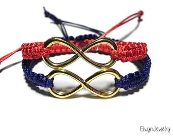Matching Infinity Bracelets, Couple Bracelets, Gold Infinity Bracelets, His Hers Bracelets, Friendship Bracelet, Long Distance Relationship