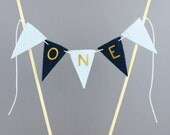 One Mini Cake Banner, Blue and Gold Boys First Birthday Cake Bunting Topper, One Year Old Smash Cake Photography Prop Centerpiece