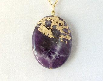 Gold Leaf Stone Pendant - Amethyst