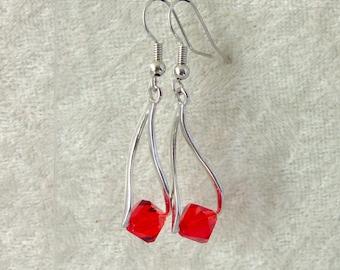 Swarovski Crystal Earrings - Ruby Red