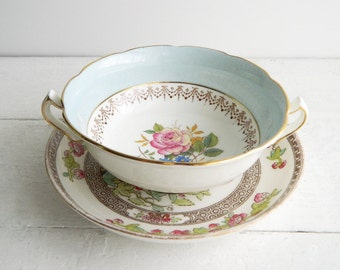 Vintage Light Blue Mismatched Cup & Saucer - George Jones and Sons Crescent Boullion Cup and Spode Indian Tree Plate