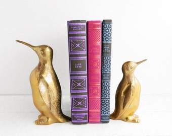 Two Vintage Brass Penguin Figurine Bookends - Mother & Baby - Nursery Decor