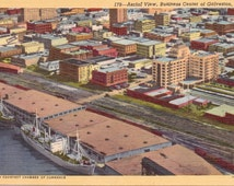 Galveston, Texas, Aerial View  - Linen Postcard - Unused (III)