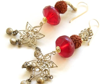 Handmade BOHO Earrings - Vintage Filigree Bell Earrings with Vintage Vaseline and Prayer Beads