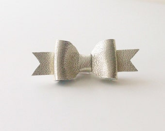Leather Bow Clip in Metallic Gold-Silver