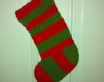 Valentine SALE Vintage Hand Made Christmas Stocking , Wool Knitted , Mid Century , Red and Green