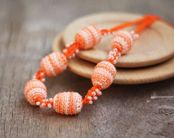 SALE Orange and white beaded necklace Boho chic Gift for her Handcrafted jewelry