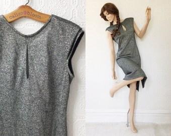 Vintage U Back Dress, Metallic Silver Sweater Dress, Body Conscious, Backless, Keyhole Neck, Below Knee, Side Slit, size Medium, 1980's