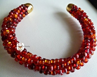"""Flickering red beaded Kumihimo cuff bracelet, """"Flickering Fire"""", bangle bracelet, gifts for her"""