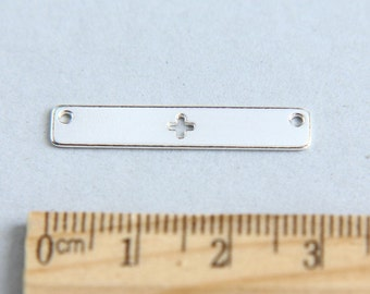 Sterling Silver Bar Pendant, Bar Stamping Blank, Nameplate Bar, Horizontal Silver Bar, Bar with plus symbol, Cutout plus, 29mm ( 1 piece )