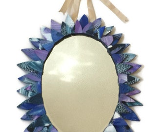 Blue and lilac purple Oval Mirror, Hand Painted