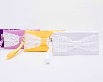 Promotional sale - Purple  with off white  lace  bow wristlet clutch,bridesmaid gift ,wedding gift ,make up bag,zipper pouch