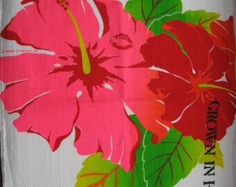 "Hawaii Kitchen Dish Towel ""Grown in Hawaii Hibiskiss"" by What a Melon Original Design"