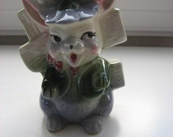 SALE Vintage Bunny Rabbit Planter Cache Pot//Holder for Nursery or Vanity Items/ Desk Caddy