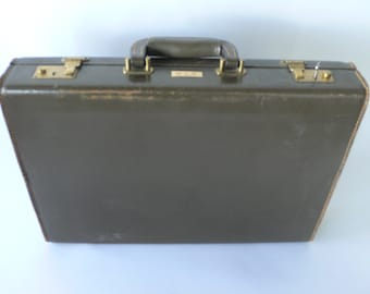 Vintage attache case, olive green leather, worn, hardsided man's luggage from Diz Has Neat Stuff