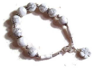 White and Gray Bracelet - Howlite Jewelry - Gemstone Jewellery - Flower Charm - Sterling Silver
