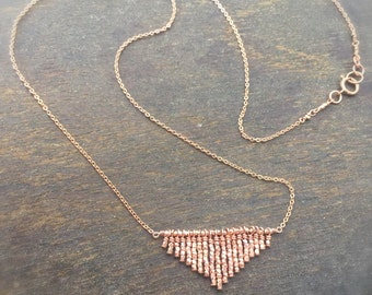 Rose Gold Triangle Necklace - Modern Geometric Jewelry - Chevron Pendant - Simple - Everyday Gold Jewellery - Gold - Point - Fringe N-187