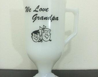 Grandpa's Favorite Mug // Vintage Milk Glass Coffee Cup