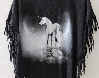 Unicorn horse stone washed hippie rock tassels t-shirt tank top small poncho