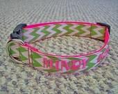 "Personalized 1"" wide Chevron Dog Collar"