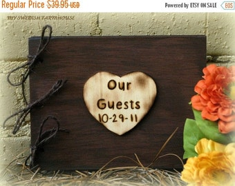 WINTER SALE Guest Book Rustic Wedding Decor with Personalized Engraved Heart or Tree Slice   You Pick the Color and Personalized Message