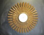 Large 60's Vintage Mid Century Syroco Starburst Sun Clock