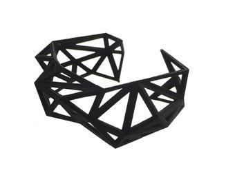 geometric bracelet- Triangulated Cuff in Black - Matte Finish. 3d printed. modern jewelry