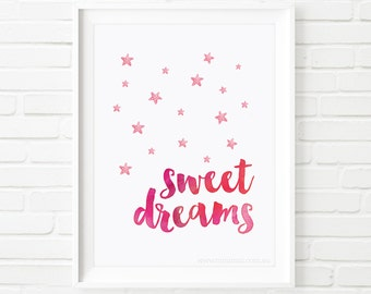 Sweet dreams print, Kids Prints, girls print, printable quote, nursery printable wall art, Printable Art, children's print, wall art