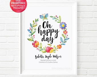 Baptism print, Christening gift 'Oh happy day' print, baptism gift, personalized kids print, nursery wall art, baby gift, baby girl