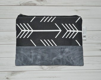 Black Arrow Clutch // Waxed Canvas Clutch - Clutch Purse - Boho Zip Purse - Gift for Her - Bridesmaid Gift - Made to Order