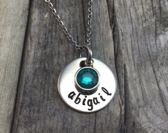 mothers necklace, personalized hand stamped stainless 1 name necklace with birthstones, name necklace, date necklace