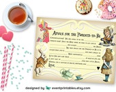Printable Alice in Wonderland Mad Libs, DIY Baby Shower Game, New Parents Advice Card, Yellow INSTANT DOWNLOAD by Event Printables