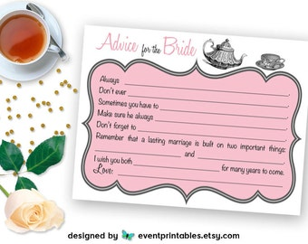 Printable Advice for the Bride Cards, Bridal Shower Mad Libs, Pink Tea Party Wish Cards, Shower Game DIGITAL DOWNLOAD by Event Printables