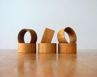 Six Mid Century Danish Modern Teak Napkin Rings