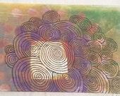 "Original Swirl Cloud Inked Design on Acrylic Spray 12"" x 21"" Painting"