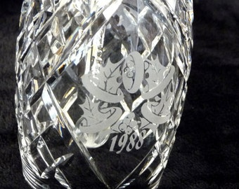 Waterford Crystal Christmas Bell 1988 Five Golden Rings, Waterford 12 Days Christmas Bells 1988