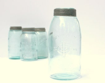 Consolidated Fruit Company Jar - Antique Aqua Blue Mason - Half Gallon - Mouth Blown - 1878 - 1892 - Metal Screw Band - Mason's Improved