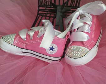 Pink Converse, Bling Crystal, Infant Shoes, Crib Shoes, Soft Bottom, Baby Sneakers, 0-12 Months