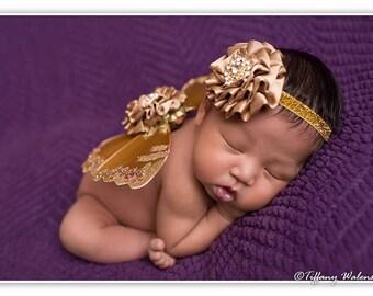 Newborn baby girls butterfly wings headband set mocha gold great photo prop
