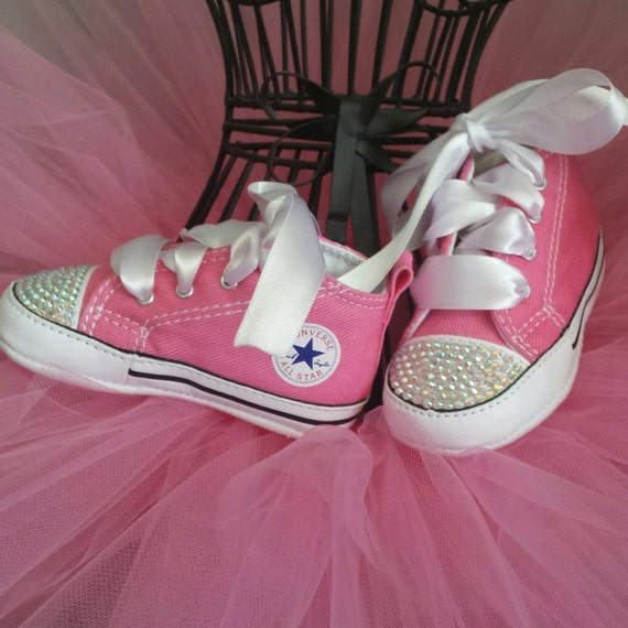 Items similar to Pink Converse Bling Crystal Infant