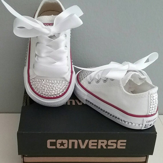 White Converse Bling Crystals Toddler Sizes 2 10 Bedazzled