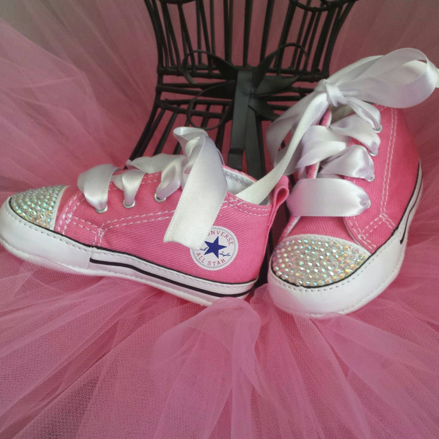Pink Converse Bling Crystal Infant Shoes Crib Shoes Soft