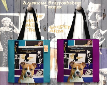 American Staffordshire Terrier Art Tote Bag The Man with the Golden Arm Movie Poster   Perfect DOG LOVER Gift for Her Gift for Him