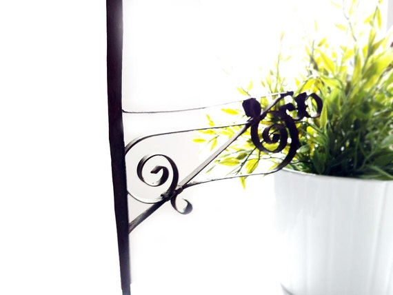Wall Mount Plant Hook Black Wrought Iron Garden Or Porch Metal
