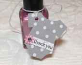 Set of 12 Mini Gray and White Polka Dot Onesie Thank You Tags - Pink Flower with Rhinestone Center - Baby Shower, Nail Polish Tag, Favor Tag