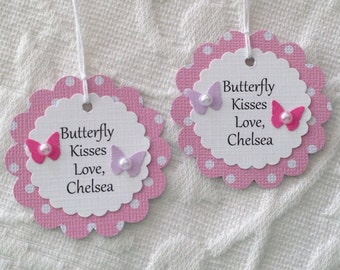 Butterfly Kisses Personalized Tags - Pink Polka Dot Tags - Butterfly  Baby Shower - Butterfly Birthday Party - Favor Gift Tags