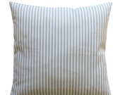 SALE Ticking Stripe Pillow Cover- Magnolia Polo Stripe Sail Blue Cushion Cover- Choose Size- Hidden Zipper- Throw Pillows- Pillow Case